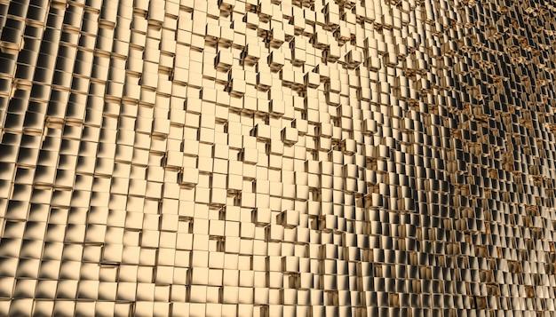 Geometrische gouden kubieke mozaïekachtergrond. ç