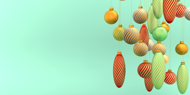 Geometrische kerstmis goud rood groen bollen op het lichtgroene concept 3d-rendering