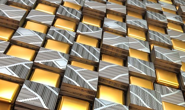 Geometrische muur van goud en staal in vierkante vormen. 3d render