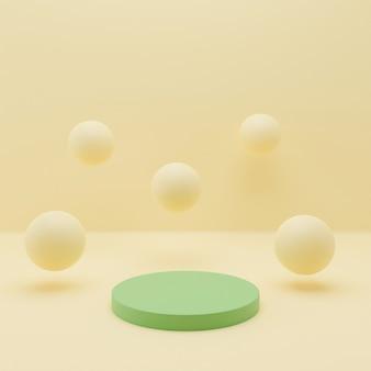 Geometrische podium en ballen abstracte achtergrond in pastelkleuren