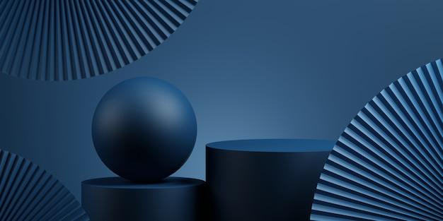Geometrische podium en pan met blauwe achtergrond voor productpresentatie 3d-rendering illustratie