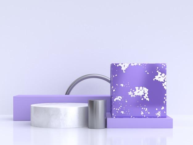 Geometrische vorm 3d-rendering podium wit paars-violet minimale abstract