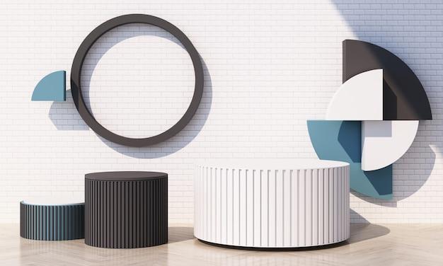 Geometrische vorm in blauwe pastelkleuren met witte tegelmuur en houten vloer