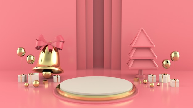 Geometrische vorm kerstboom scène concept decoratie 3d-rendering