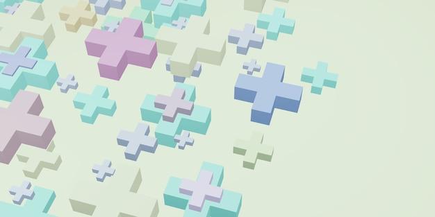 Geometrische vorm plusteken pastel kleur zoete achtergrond 3d illustratie