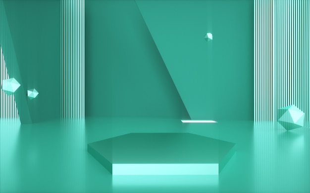 Geometrische vormachtergrond met zeshoekig podium voor productvertoning