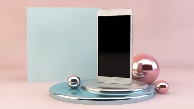 Geometrische vormen en smartphone op podium