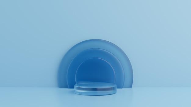 Geometrische vormen glas blauw, podium op de vloer. 3d-rendering