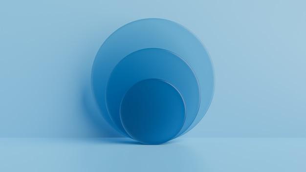 Geometrische vormen glas, podium op de vloer. 3d-rendering