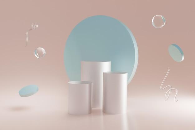 Geometrische vormen van 3d neon glas zweven in de hoek van de kamer