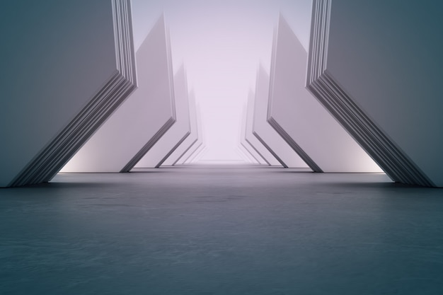 Geometrische vormenstructuur op lege betonnen vloer met witte muur in hal of moderne showroom.
