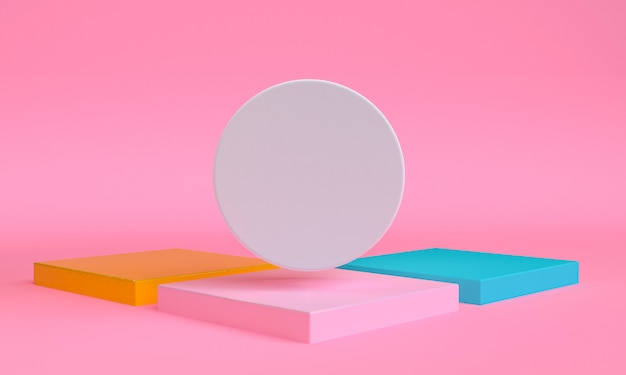 Geometrische vormscène minimale, 3d-rendering.
