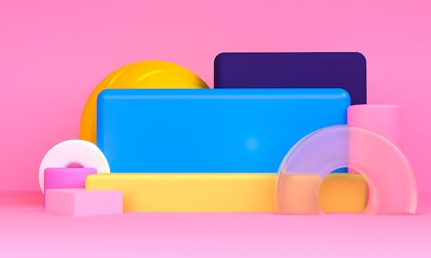 Geometrische vormscène minimale stijl, 3d-rendering.