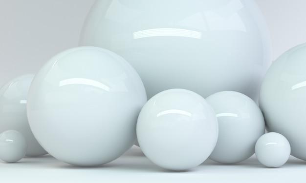 Geometrische witte vorm scène minimale, 3d-rendering.