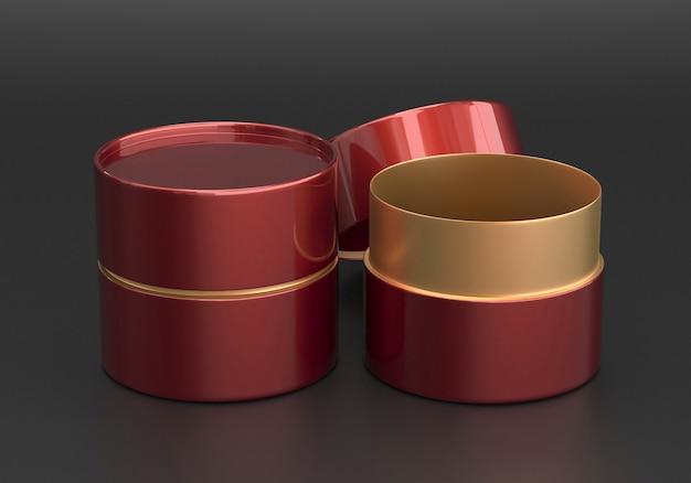 Geopend glanzend kastanjebruin en goud plastic of metalen of papieren buisblik mockup, 3d render