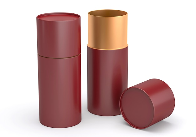 Geopend kastanjebruin en goud plastic of metalen of papieren buisblik mockup, 3d render