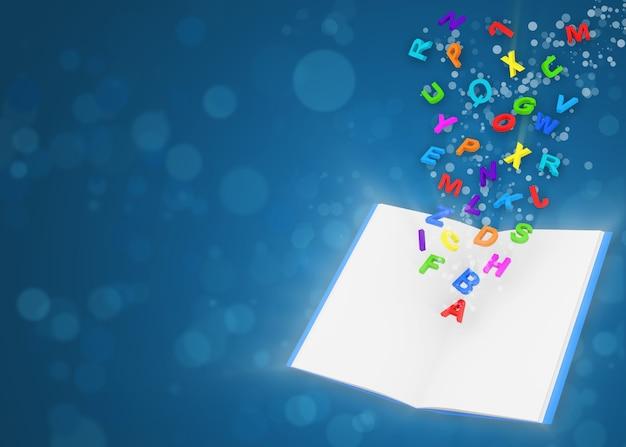 Geopend magisch boek met kleurrijke letters