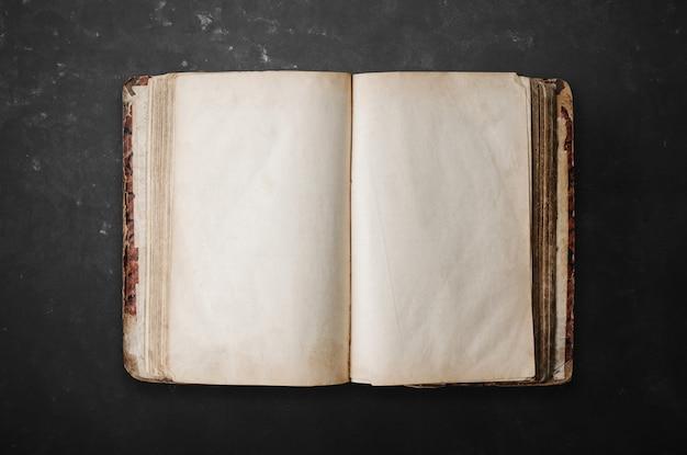 Geopend retro leeg boek