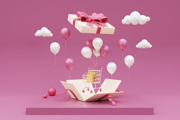Geopende 3d-geschenkdoos met winkelwagentje, boodschappentas en ballon. 3d-weergave.