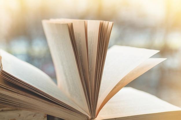 Geopende boeken op vintage vensterbank met een mooie bloemenvaas. boeken geopend