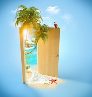 Geopende deur naar het tropische paradijs