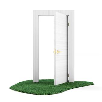 Geopende deur op groen gras