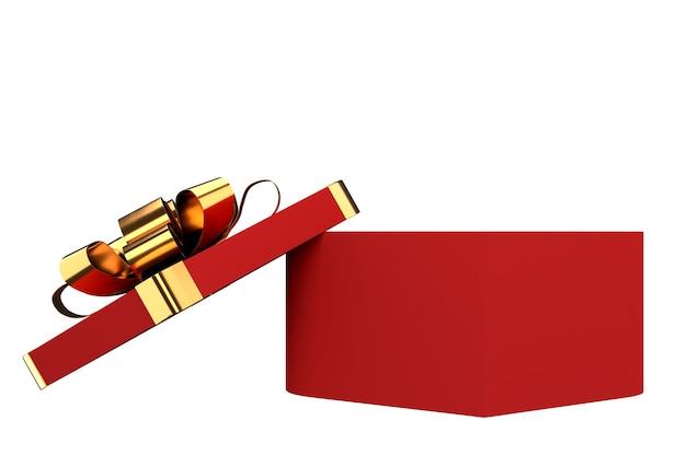 Geopende geschenkdoos met gouden lint en strik
