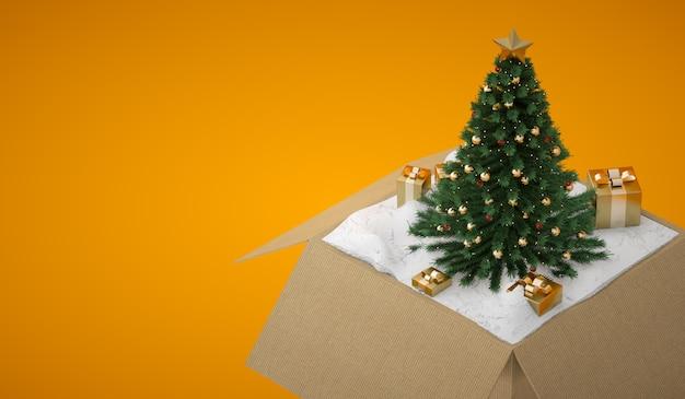 Geopende geschenkdoos met kerstboom en gouden dozen