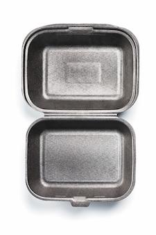 Geopende lunchbox wegwerp