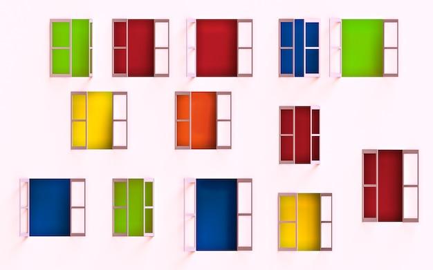 Geopende ramen in een gebouw. 3d-weergave. Premium Foto