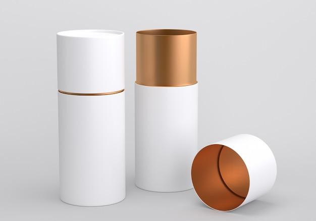 Geopende witte en gouden plastic of metalen of papieren buis blik mockup, 3d render