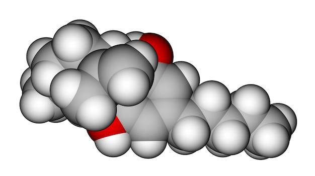 Geoptimaliseerd moleculair model van cannabidiol, het bestanddeel van de cannabisplant
