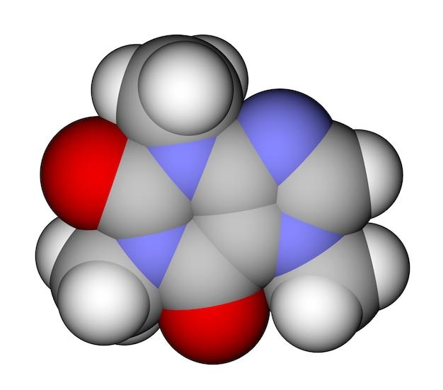 Geoptimaliseerde moleculaire structuur van cafeïne op een witte achtergrond