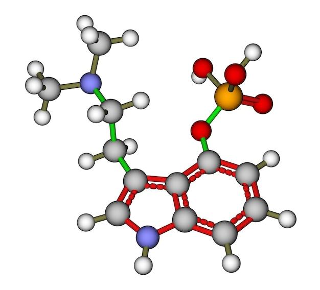 Geoptimaliseerde moleculaire structuur van hallucinogeen psilocybine op een witte achtergrond