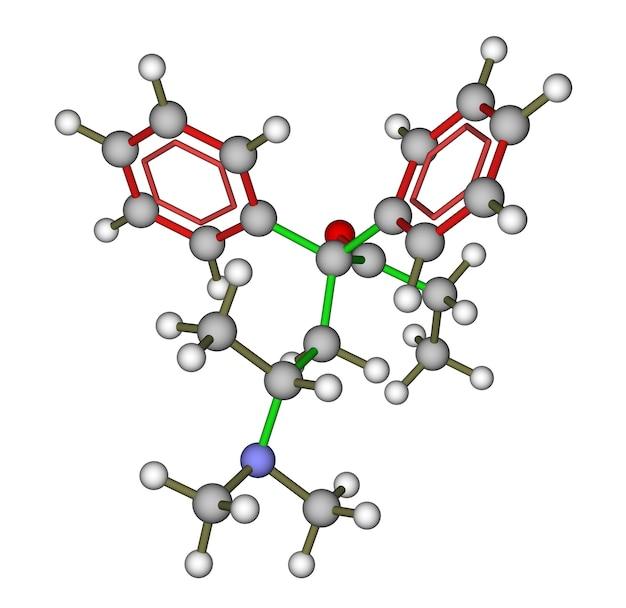 Geoptimaliseerde moleculaire structuur van methadon (synthetische opioïde) op een witte achtergrond