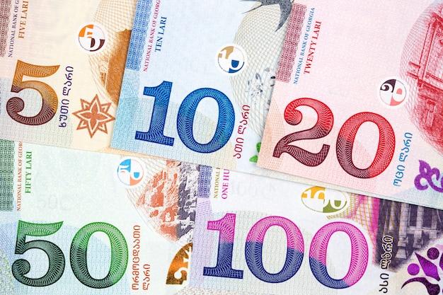 Georgisch geld - lari een zakelijk oppervlak