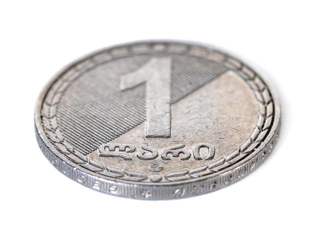 Georgische geld lari munt geïsoleerd op wit.