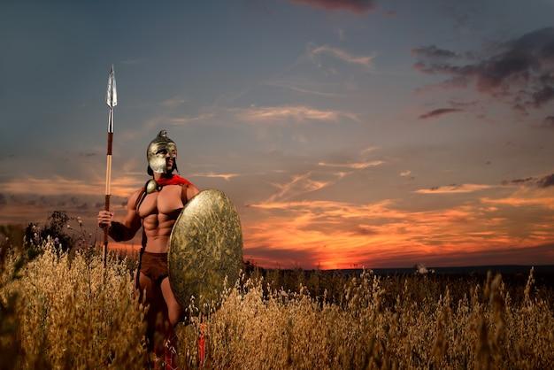 Gepantserde spartaanse krijger met een veld