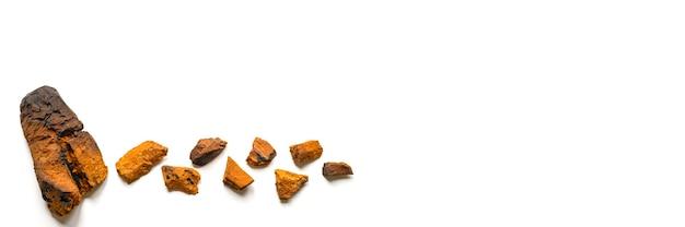 Gepeld stuk berkchaga-paddenstoel en geplette stukjes chaga-schimmel voor het zetten van thee