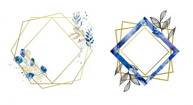 Geprefabriceerde gouden en blauwe geometrische frames