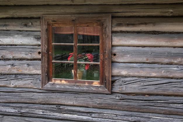 Geranium bloemen in een raam in een strom blokhut met een rieten dak