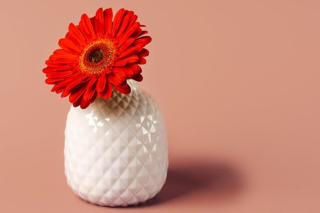 Gerberabloem in een vaas op een mooie pastelkleurachtergrond. minimalisme en ruimte voor tekst