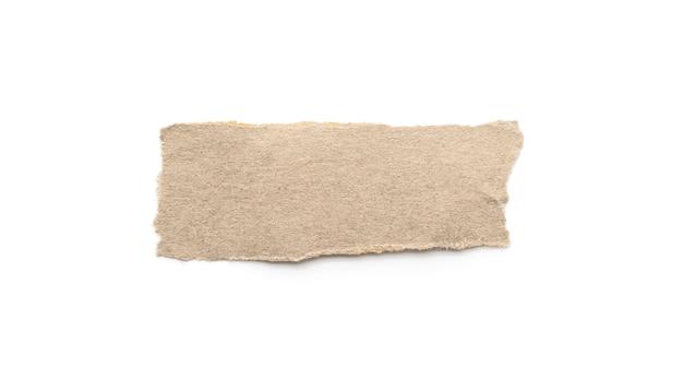 Gerecycleerde papieren ambachtelijke stok op een witte achtergrond.