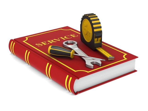 Gereedschap en rood onderhoudsboekje. afgelegen, 3d-rendering