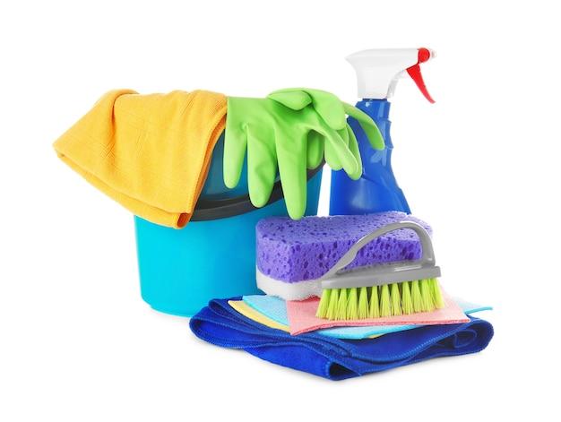 Gereedschap voor het reinigen van auto's, geïsoleerd op wit