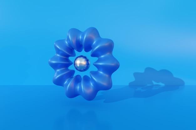 Geribbelde torus. abstracte compositie met 3d-vormen.