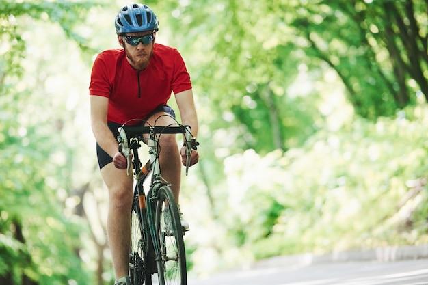 Gerichte foto. fietser op een fiets is op de asfaltweg in het bos op zonnige dag