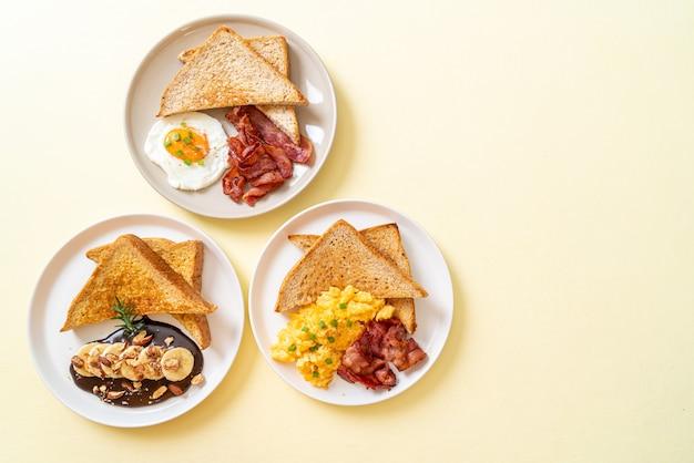 Geroosterd brood met spek, eieren en chocolade