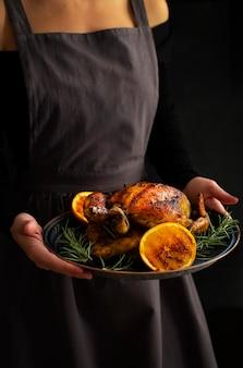Geroosterde kip met sinaasappel en rozemarijn