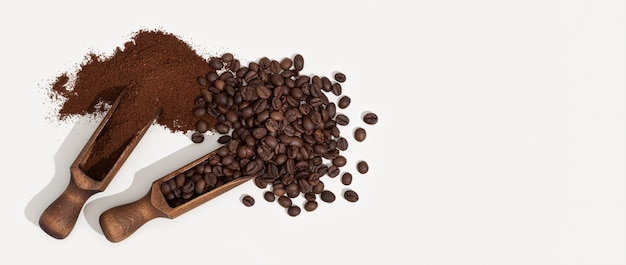 Geroosterde koffiebonen en koffiedik die op witte achtergrond worden geïsoleerd. ruimte kopiëren bovenaanzicht